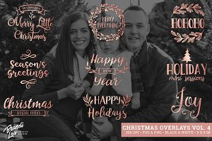 Rose Gold Christmas Photo Overlays