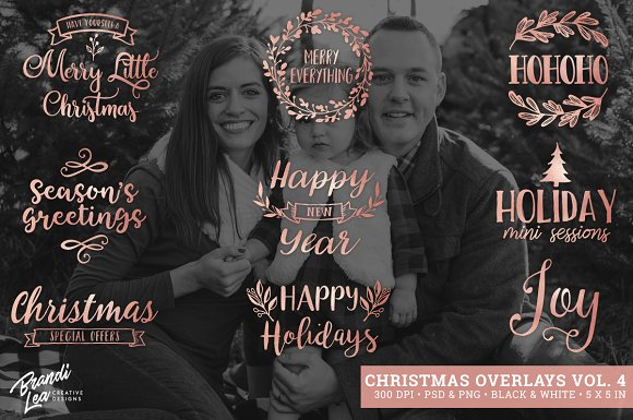 Rose Gold Christmas Photo Overlays in Illustrations