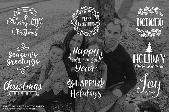 Rose Gold Christmas Photo Overlays in Illustrations - product preview 1