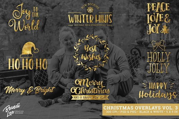 Gold Foil Christmas Photo Overlays