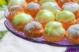 vivid profiteroles close-up