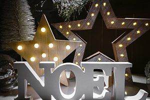 Noel word made of wooden letters