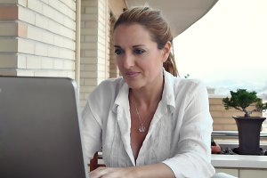 woman working quietly on your terrac