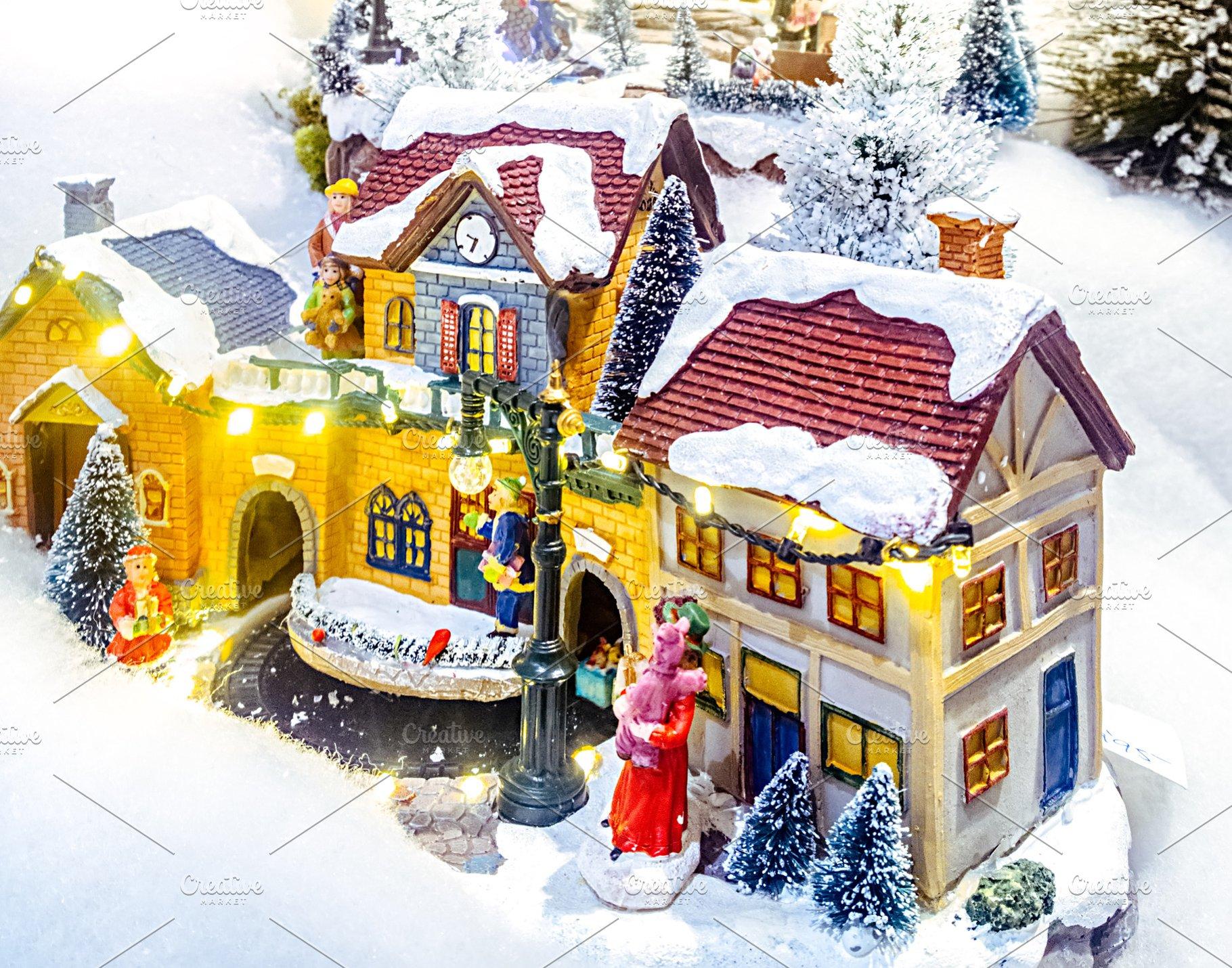 Miniature Christmas Village.Miniature Christmas Village Scene