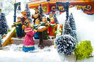 Miniature Christmas village scene