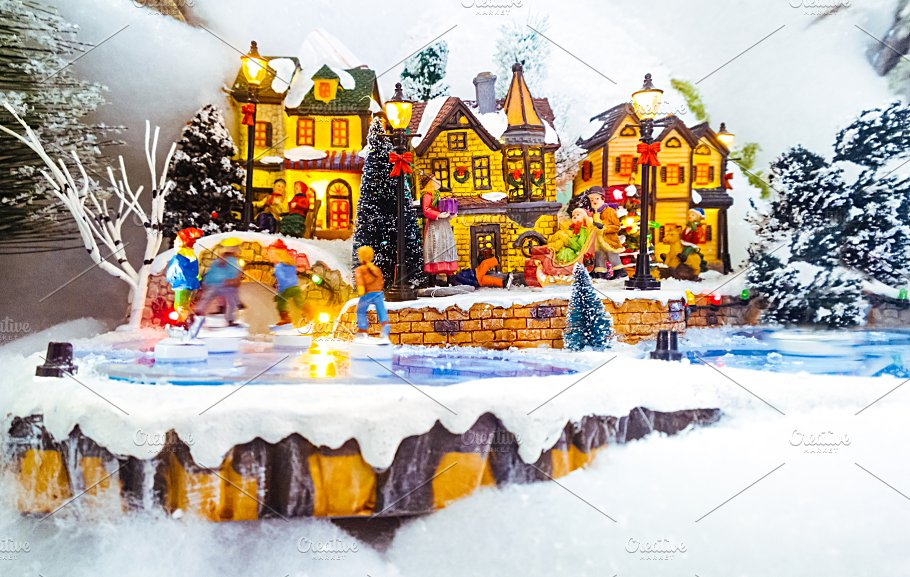 miniature christmas village scene holidays - Miniature Christmas Village