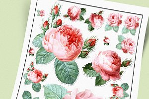 Victorian Roses Stickers Set
