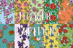 10 flower patterns set №2