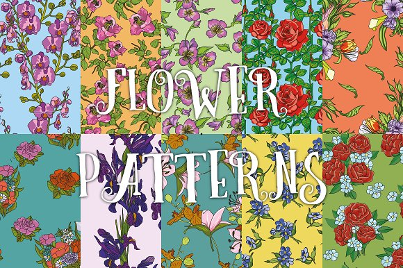 10 flower patterns set №2 in Patterns