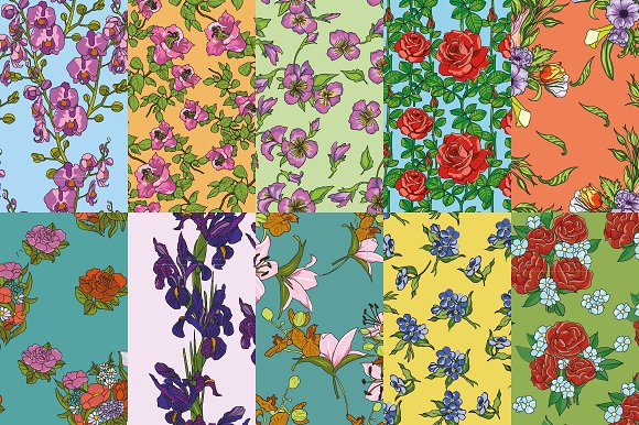 10 flower patterns set №2 in Patterns - product preview 1