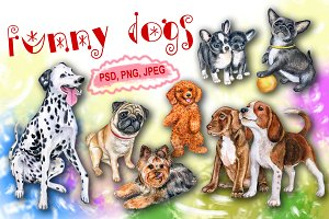 20% OFF! Funny dogs. Watercolor