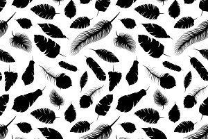 Elegant feather silhouettes pattern