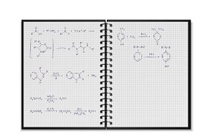 School notepad with chemical formula