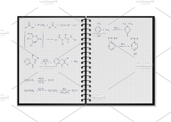 School notepad with chemical formula in Illustrations