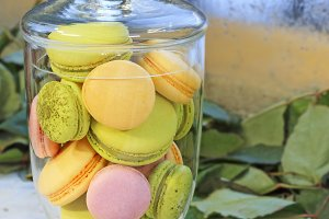 macarons in a glass vase