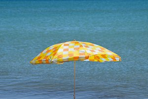 Beach umbrella from the sun on the beach. Black Sea