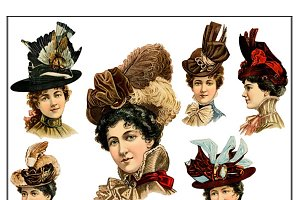 Victorian Women Clipart 18 PNGs
