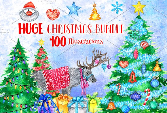 HUGE Christmas Watercolor Pack