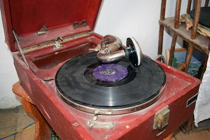 Ancient dusty record player