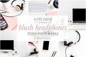 Blush Headphones Stock Photo Bundle