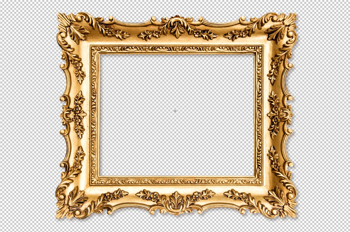 Baroque golden picture frame PNG ~ Objects ~ Creative Market