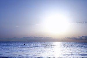Sun set on Mediterranean sea