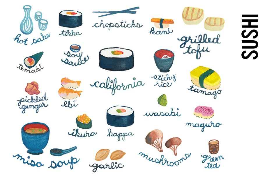 Sushi Dinner-Food Watercolor Doodles