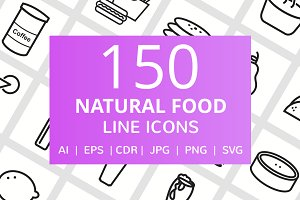 150 Natural Food Line Icons