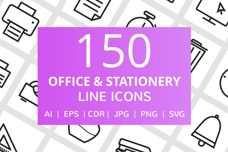 150 Office & Stationery Line Icons in Icons