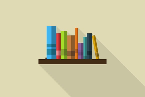 Book shelf vector illustration