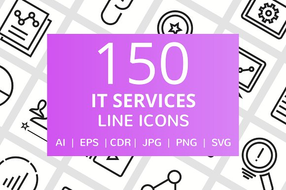 150 IT Services Line Icons in Graphics