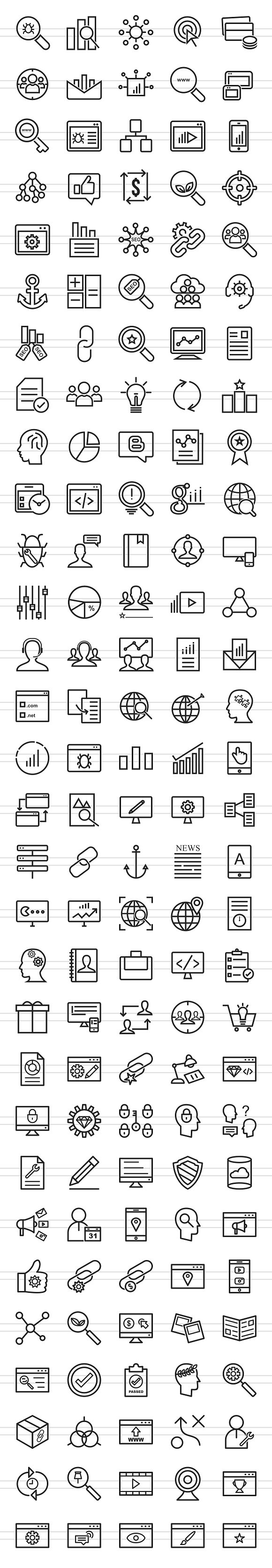 150 IT Services Line Icons in Graphics - product preview 1
