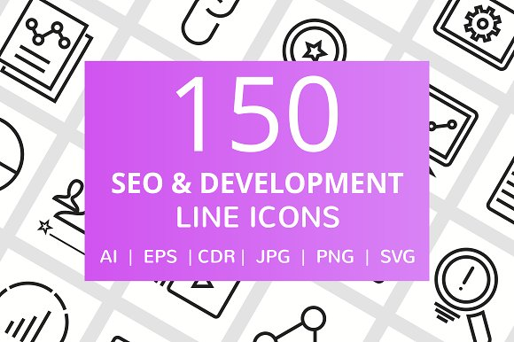 150 SEO & Development Line Icons in Graphics