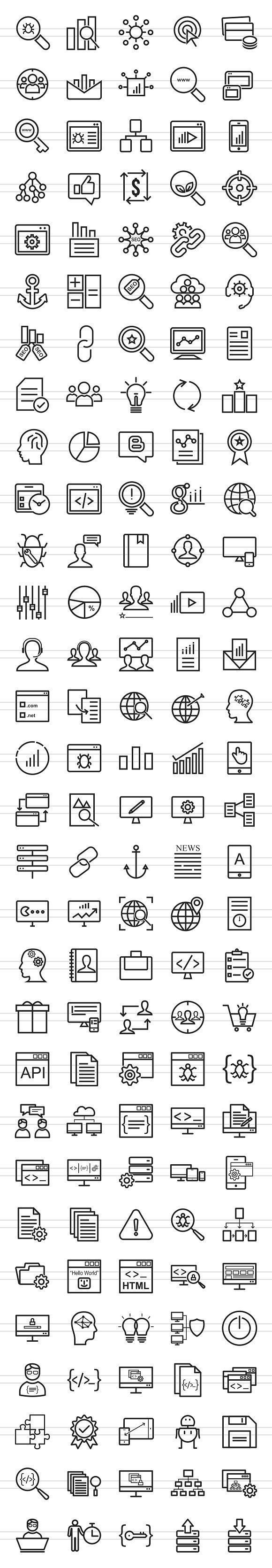 150 SEO & Development Line Icons in Graphics - product preview 1
