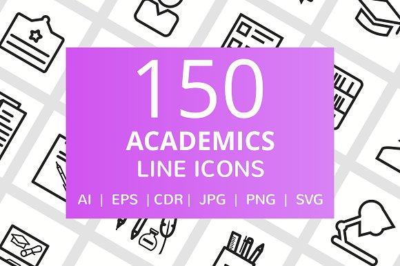 150 Academics Line Icons in Graphics