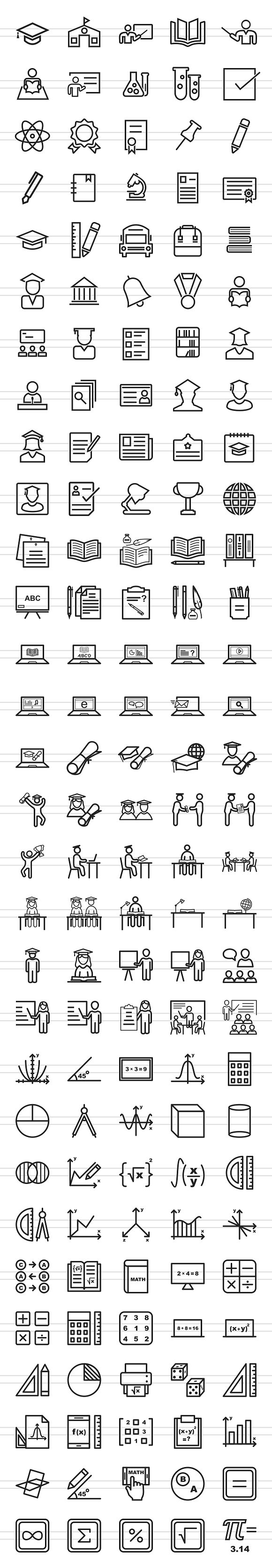 150 Academics Line Icons in Graphics - product preview 1