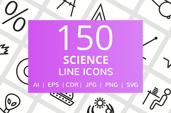 150 Science Line Icons