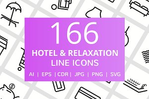 166 Hotel & Relaxation Line Icons
