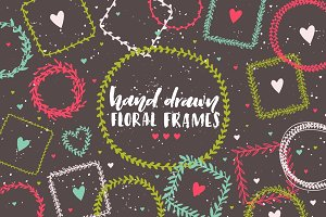 Handdrawn vector frames & wreaths