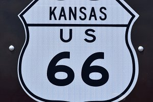 Route 66 sign in Kansas.