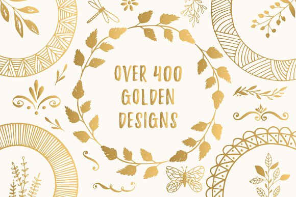 400 Golden Designs Eps & Png