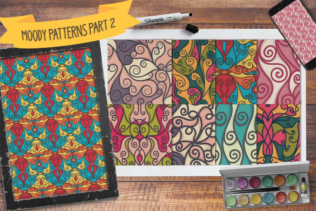 Moody seamless patterns part 2