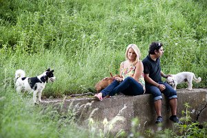 Couple and their dogs in the nature.