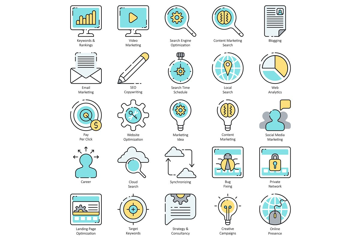 100 SEO & Internet Marketing Icons in Marketing Icons - product preview 1