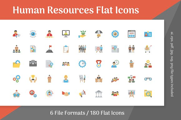 180 Human Resources Flat Icons