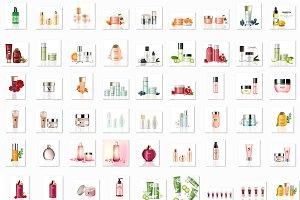 Bundle of 76 cosmetics mockup set