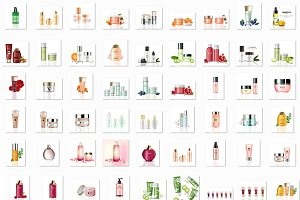 Bundle of 76 cosmetics mockup set