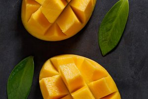 The two halves of ripe mango