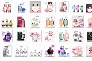 Bundle of 32 vector perfume mockup