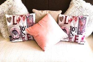 Romantic sofa with pillows photo